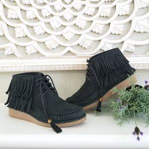 UGG Caleb Fringe Leather Wedge Moccasin Booties
